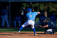 AZL Royals Jimmy Govern (8) at bat in front of catcher Alex Hall (33) during an Arizona League game against the AZL Brewers Blue at Surprise Stadium on June 18, 2019 in Surprise, Arizona. AZL Royals defeated AZL Brewers Blue 12-7. (Zachary Lucy/Four Seam Images)