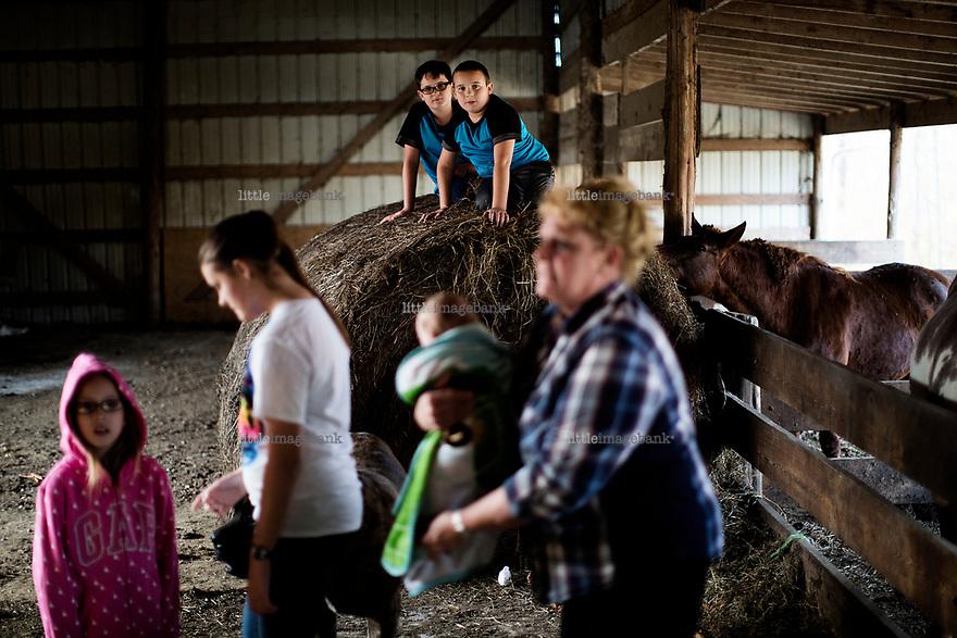 Ohio, Usa. Oktober 2016. Barna elsker å være med dyrene. Hos hestene er det fult liv. Fotografier til dokument om valget i Usa og Appalachene. Foto: Christopher Olssøn