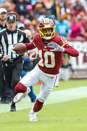 Landover, MD - October 14, 2018: Washington Redskins wide receiver Paul Richardson (10) runs the ball during the  game between Carolina Panthers and Washington Redskins at FedEx Field in Landover, MD.   (Photo by Elliott Brown/Media Images International)
