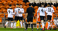 Derby County's Kornell McDonald (7) celebrates scoring the opening goal with teamates<br /> <br /> Photographer Alex Dodd/CameraSport<br /> <br /> The FA Youth Cup Third Round - Blackpool U18 v Derby County U18 - Tuesday 4th December 2018 - Bloomfield Road - Blackpool<br />  <br /> World Copyright &copy; 2018 CameraSport. All rights reserved. 43 Linden Ave. Countesthorpe. Leicester. England. LE8 5PG - Tel: +44 (0) 116 277 4147 - admin@camerasport.com - www.camerasport.com
