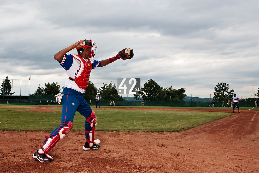18 August 2010: Andy Paz Garriga of Team France throws the ball to first base during the France 7-3 win over Ukraine, at the 2010 European Championship, under 21, in Brno, Czech Republic.