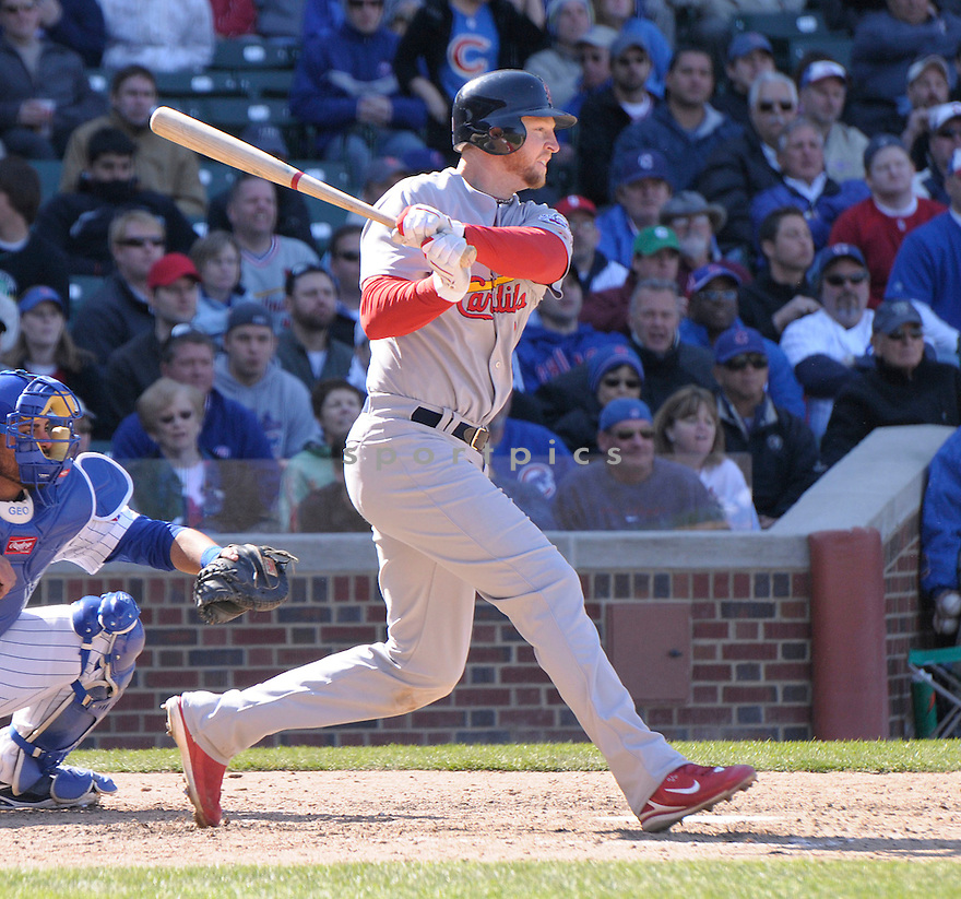 CHRIS DUNCAN, of the St. Louis Cardinals  , in action  during the Cardinals  game against the Chicago Cubs  on April 16, 2009 in Chicago, IL.  The Cubs beat  the Cardinals  8-7  in Chicago,