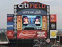 Daisuke Matsuzaka (Mets),<br /> AUGUST 28, 2013 - MLB :<br /> The scoreboard shows pictures of starting pitchers Cole Hamels of the Philadelphia Phillies and Daisuke Matsuzaka of the New York Mets before the Major League Baseball game at Citi Field in Flushing, New York, United States. (Photo by AFLO)