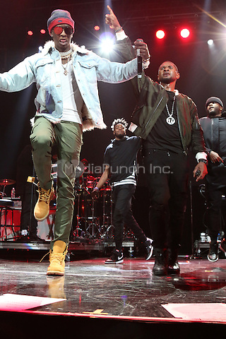 NEWARK, NJ - DECEMBER 3: Young Thug and Usher at the 2016 Hot 97 Hot 4 The Holidays Concert at the Prudential Center in Newark, New Jersey on December 3, 2016. Credit: Walik Goshorn/MediaPunch