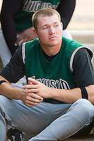 Augusta outfielder Ben Copeland in the dugout between innings of the Green Jackets game versus the Kannapolis Intimidators at Fieldcrest Cannon Stadium in Kannapolis, NC, Saturday, June 17, 2006.