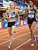 Maggie Maier of Sacred Heart Academy (Hempstead), left, moves to the front in the girls 1,600 meter sprint medley relay during the New Balance Indoor Nationals at The Armory in New York, NY on Saturday, March 10, 2018.