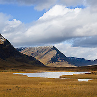 Autumn mountain landscape along Kungsleden trail, Lapland, Sweden