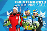 Ladies podium with Kateryna Grygorenko, Astrid Slind and Maryna Antsybor during the cross country 10 km free style men as part of the Winter Universiade Trentino 2013 on 17/12/2013 in Lago Di Tesero, Italy.<br /> <br /> &copy; Pierre Teyssot - www.pierreteyssot.com