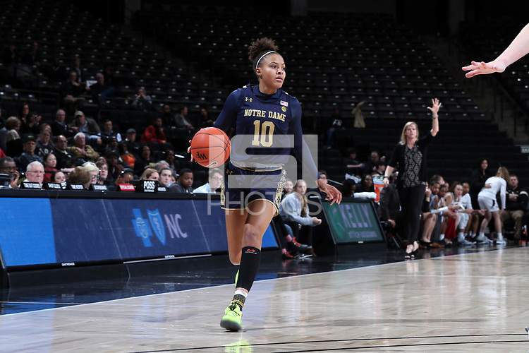 WINSTON-SALEM, NC - FEBRUARY 06: Katlyn Gilbert #10 of the University of Notre Dame dribbles the ball during a game between Notre Dame and Wake Forest at Lawrence Joel Veterans Memorial Coliseum on February 06, 2020 in Winston-Salem, North Carolina.