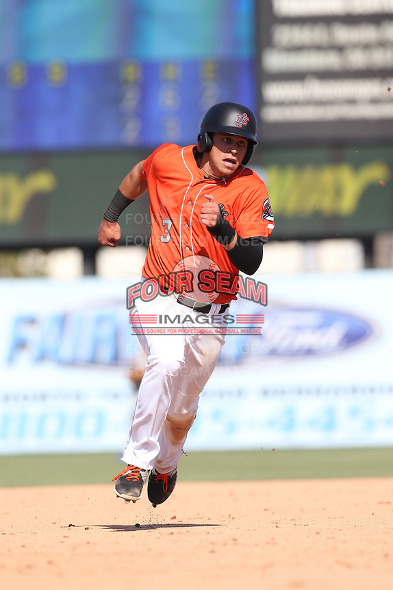 Angel Rosa (3) of the Inland Empire 66ers runs the bases during a game against the Stockton Ports at The Hanger on April 11, 2015 in Lancaster, California. San Jose defeated Lancaster, 8-3. (Larry Goren/Four Seam Images)