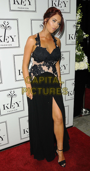 Amy Childs<br /> The KEY Fashion new online fashion boutique launch party, Vanilla, London, England.<br /> September 25th, 2013<br /> full length black dress sheer lace slit split eyes closed blinking funny<br /> CAP/CAN<br /> &copy;Can Nguyen/Capital Pictures