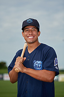 Mobile BayBears Jahmai Jones (15) poses for a photo before a Southern League game against the Jacksonville Jumbo Shrimp on May 8, 2019 at Hank Aaron Stadium in Mobile, Alabama.  (Mike Janes/Four Seam Images)