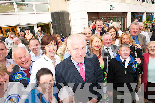 Jimmy Deenihan with his supporters after being elected with a record 12,697 first preference votes.