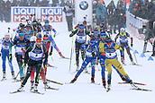 17th March 2019, Ostersund, Sweden; IBU World Championships Biathlon, day 9, mass start women; Denise Herrmann (GER) and Hanna Oeberg (SWE) lead away from the start