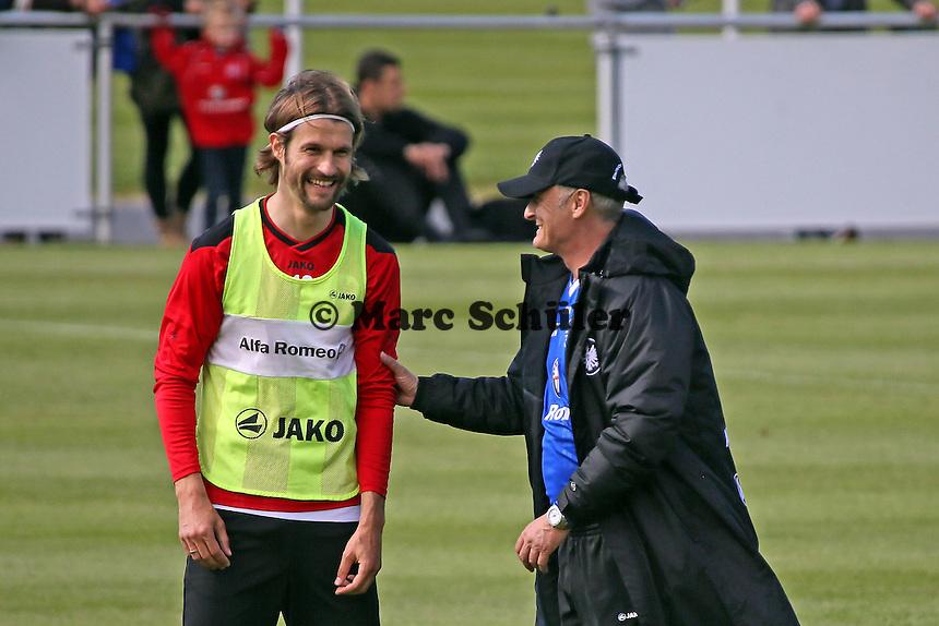 Martin Lanig mit Trainer Armin Veh - Eintracht Frankfurt Training, Commerzbank Arena