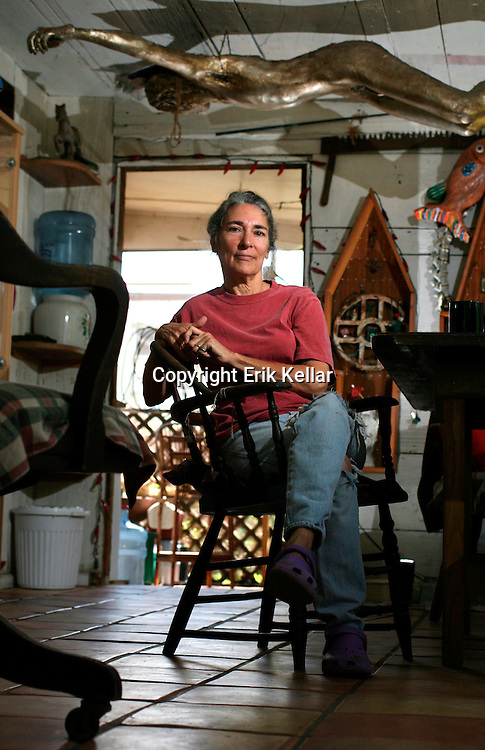 Sherry Rohl sits at her dining room table in her handcrafted south Fort Myers home. A lifelong artist, Rohl paints for commission and displays work at local galleries. Like many painters, she also works at local frame shops to supplement her income. Erik Kellar