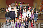 A great day out for the pupils of Nohoval NS, Ballymacelligott, Tralee as they were confirmed on Wednesday in St Brendan's Church, Cloghers, Ballymacelligott by the Bishop of Kerry Bill Murphy.Rebecca Ni? h-Eathri?n,Amy Ni? Harrachtain, Abbie Ni? Shuilleabha?in,Gerri? Bhriain, Stephanie Ni? Dhu?ill agus Aoife Ni? Loinsigh. 2nd row l-r: Susan Ni? Mhasu?n, Eoin O? Ceallachain, Michaella Ni? Dhonnchadha,Moira Ni? Dha?laigh,Sinea?d Ni? Bhrosnacha?in,Lucia de Ba?ille agus Niamh Nic Dhonnachdha.3rd row l-r: Conor O? Se?, Ciara Ni? Liatha?in, Sadhbh Ple?amonn, Max O? Briain agus Jack O? Heifearna?in. Back row l-r: Lorraine O Halloran (teacher), Michea?l O? Bolguidhir (principal) agus Fr Pat Crean-Lynch................................. ....
