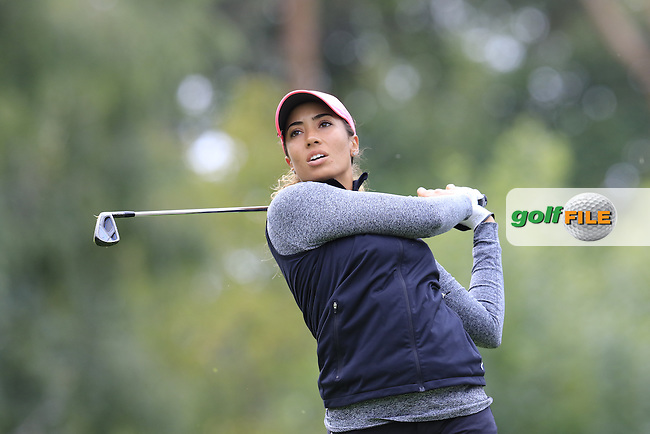 Cheyenne Woods (USA) tees off the 8th tee during Saturday's Round 3 of The 2016 Evian Championship held at Evian Resort Golf Club, Evian-les-Bains, France. 17th September 2016.<br /> Picture: Eoin Clarke | Golffile<br /> <br /> <br /> All photos usage must carry mandatory copyright credit (&copy; Golffile | Eoin Clarke)