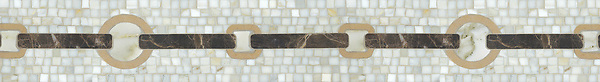 """5 1/2"""" Strap border, a hand-cut stone mosaic, shown in honed Calacatta Tia, Jerusalem Gold, and Emperador Dark, is part of the Silk Road® collection by New Ravenna."""