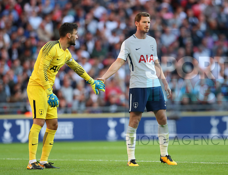 Tottenham's Jan Vertonghen and Hugo Lloris during the pre season match at Wembley Stadium, London. Picture date 5th August 2017. Picture credit should read: David Klein/Sportimage