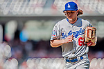 20 May 2018: Los Angeles Dodgers pitcher Erik Goeddel returns to the dugout from the mound during a game against the Washington Nationals at Nationals Park in Washington, DC. The Dodgers defeated the Nationals 7-2, sweeping their 3-game series. Mandatory Credit: Ed Wolfstein Photo *** RAW (NEF) Image File Available ***
