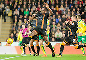 31st October 2017, Carrow Road, Norwich, England; EFL Championship football, Norwich City versus Wolverhampton Wanderers; Wolverhampton Wanderers defender Willy Boly battles for the ball