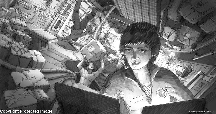 Preliminary illustration of the Europa commander at her station in the command module.