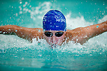 JCC's Cole Jackman competes in the 50 yard fly race during the 53rd annual Country Club Swimming Championships on Tuesday, Aug. 7, 2012, in Kearns, Utah. (© 2012 Douglas C. Pizac)