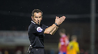 Referee Keith Stroud blows the whistle for full time during the Sky Bet League 2 match between Dagenham and Redbridge and Wycombe Wanderers at the London Borough of Barking and Dagenham Stadium, London, England on 9 February 2016. Photo by Andy Rowland.