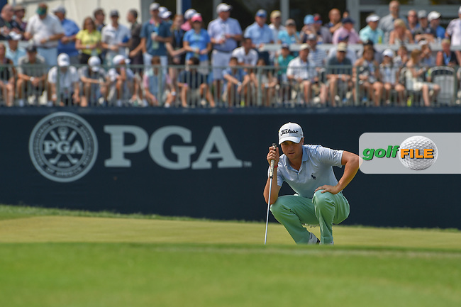 Justin Thomas (USA) lines up his putt on 9 during 4th round of the 100th PGA Championship at Bellerive Country Club, St. Louis, Missouri. 8/12/2018.<br /> Picture: Golffile | Ken Murray<br /> <br /> All photo usage must carry mandatory copyright credit (© Golffile | Ken Murray)