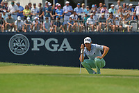 Justin Thomas (USA) lines up his putt on 9 during 4th round of the 100th PGA Championship at Bellerive Country Club, St. Louis, Missouri. 8/12/2018.<br /> Picture: Golffile | Ken Murray<br /> <br /> All photo usage must carry mandatory copyright credit (&copy; Golffile | Ken Murray)