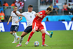 (L to R) <br /> Olivier Giroud (FRA), <br /> Admir Mehmedi (SUI), <br /> JUNE 20, 2014 - Football /Soccer : <br /> 2014 FIFA World Cup Brazil <br /> Group Match -Group E- <br /> between Switzerland 2-5 France <br /> at Arena Fonte Nova, Salvador, Brazil. <br /> (Photo by YUTAKA/AFLO SPORT) [1040]