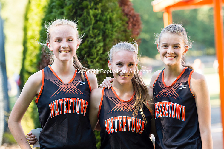 WATERTOWN, CT- 15 September 2015-091515EC08-  The Watertown girls team swept the girls' race with first, second and third places. From L to R: Second place finisher Bethany Ottowitz, third place finisher Julia Locke and winner Sophia Guerrera. The girls said they felt confident in the beginning they would do well. Erin Covey Republican-American