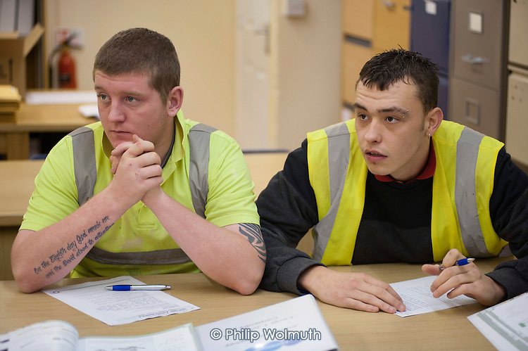 Carpentry and joinery NVQ trainees at a college run by Barnsley Community Build, a social enterprise, South Yorkshire.