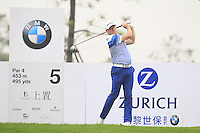 Jamie Donaldson (WAL) tees off the 5th tee during Saturay's Round 3 of the 2014 BMW Masters held at Lake Malaren, Shanghai, China. 1st November 2014.<br /> Picture: Eoin Clarke www.golffile.ie