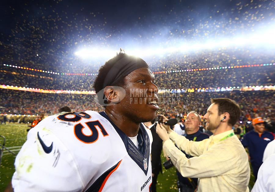 Feb 7, 2016; Santa Clara, CA, USA; Confetti falls as Denver Broncos tight end Virgil Green celebrates after defeating the Carolina Panthers in Super Bowl 50 at Levi's Stadium. Mandatory Credit: Mark J. Rebilas-USA TODAY Sports