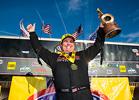 Feb 24, 2019; Chandler, AZ, USA; NHRA top fuel driver Billy Torrence celebrates after winning the Arizona Nationals at Wild Horse Pass Motorsports Park. Mandatory Credit: Mark J. Rebilas-USA TODAY Sports
