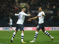 Preston North End's Alan Browne celebrates scoring his sides first goal  with  Lukas Nmecha<br /> <br /> Photographer Mick Walker/CameraSport<br /> <br /> The EFL Sky Bet Championship -  Preston North End v Millwall - Saturday 15th December 2018 - Deepdale-Preston<br /> <br /> World Copyright &copy; 2018 CameraSport. All rights reserved. 43 Linden Ave. Countesthorpe. Leicester. England. LE8 5PG - Tel: +44 (0) 116 277 4147 - admin@camerasport.com - www.camerasport.com