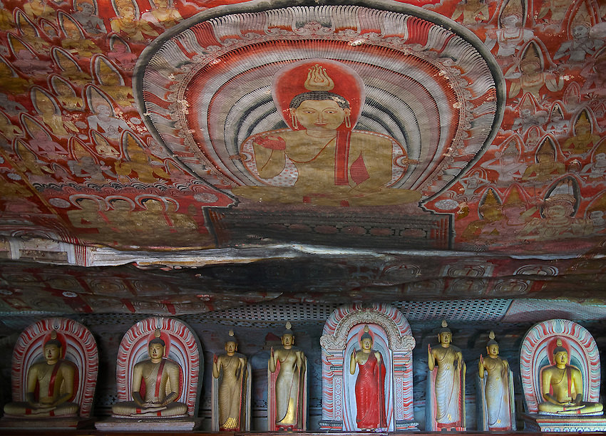 Magnificent mural cave paintings on the ceilings and walls in the Dambulla Caves. This temple complex dates back to the 1st century BC. and is a sacred pilgrimage site for 22 centuries, it is a cave monastery, with five sanctuaries, the largest, best-preserved cave-temple complex in Sri Lanka. The Buddhist mural paintings (covering an area of 2,100 m2 ) are of particular importance, as are the 157 statues.<br />