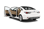 Car images close up view of a 2015 Hyundai Sonata  Hybrid 4 Door Sedan doors