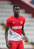 Benoit Badiashile Mukinayi of AS Monaco FC Youth during the UEFA Youth League round of 16 match between Tottenham Hotspur U19 and Monaco at Lamex Stadium, Stevenage, England on 21 February 2018. Photo by Andy Rowland.