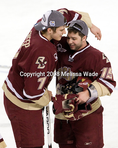 Carl Sneep (BC - 7), Joe Whitney (BC - 15) - The Boston College Eagles defeated the Miami University RedHawks 4-3 in overtime on Sunday, March 30, 2008 in the NCAA Northeast Regional Final at the DCU Center in Worcester, Massachusetts.