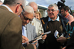 Lester Pickett signing autographs Bellewstown races.Picture Fran Caffrey www.newsfile.ie
