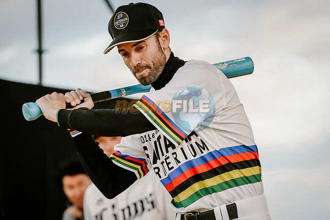 Baseball skills time for World Champion Alejandro Valverde (ESP) at the media day before the 2018 Saitama Criterium, Japan. 3rd November 2018.<br /> Picture: ASO/Pauline Ballet | Cyclefile<br /> <br /> <br /> All photos usage must carry mandatory copyright credit (© Cyclefile | ASO/Pauline Ballet)