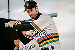 Baseball skills time for World Champion Alejandro Valverde (ESP) at the media day before the 2018 Saitama Criterium, Japan. 3rd November 2018.<br /> Picture: ASO/Pauline Ballet | Cyclefile<br /> <br /> <br /> All photos usage must carry mandatory copyright credit (&copy; Cyclefile | ASO/Pauline Ballet)