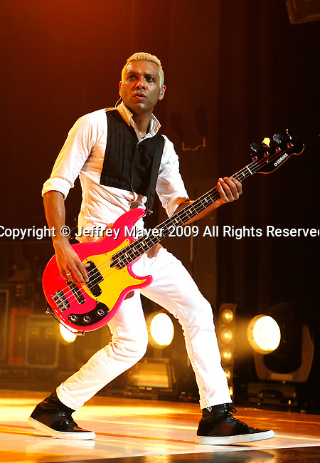 UNIVERSAL CITY, CA. - July 22: Bassist Tony Kanal  of No Doubt performs at the Gibson Amphitheatre on July 22, 2009 in Universal City, California.