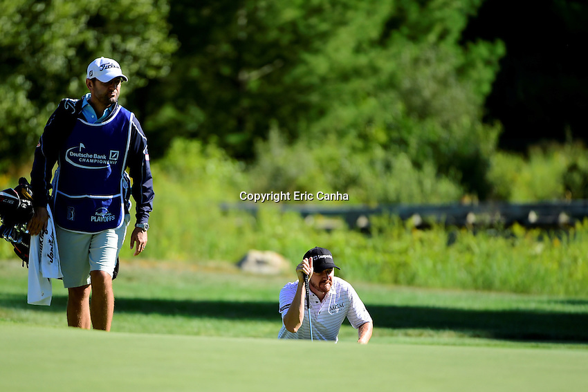 Friday, September 2, 2016: Jimmy Walker studies his put on the on the third green during the first round of the Deutsche Bank Championship tournament held at the Tournament Players Club, in Norton, Massachusetts.  Eric Canha/Cal Sport Media