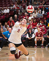Stanford, CA - October 18, 2019: Morgan Hentz at Maples Pavilion. The No. 2 Stanford Cardinal swept the Colorado Buffaloes 3-0.