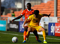Blackpool's Sullay Kaikai vies for possession with Milton Keynes Dons' George Williams<br /> <br /> Photographer Alex Dodd/CameraSport<br /> <br /> The EFL Sky Bet League One - Blackpool v MK Dons  - Saturday September 14th 2019 - Bloomfield Road - Blackpool<br /> <br /> World Copyright © 2019 CameraSport. All rights reserved. 43 Linden Ave. Countesthorpe. Leicester. England. LE8 5PG - Tel: +44 (0) 116 277 4147 - admin@camerasport.com - www.camerasport.com