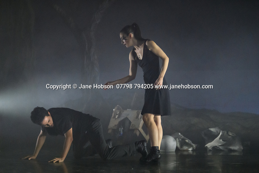 "London, UK. 27.02.20. Mark Bruce Company presents ""Return to Heaven"", at Wilton's Music Hall. Written and choreographed by Mark Bruce, with costume design by Dorothee Brodruck, lighting design by Guy Hoare, and set design by Phil Eddolls. The dancers are: Jordi Calpe-Serrats, Eleanor Duval, Carina Howard, Dane Hurst, Sharol Mackenzie, Christopher Thomas. Photograph © Jane Hobson."